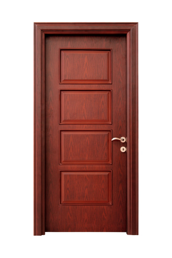 Wooden Interior Door Isolated On White with Clipping Path.