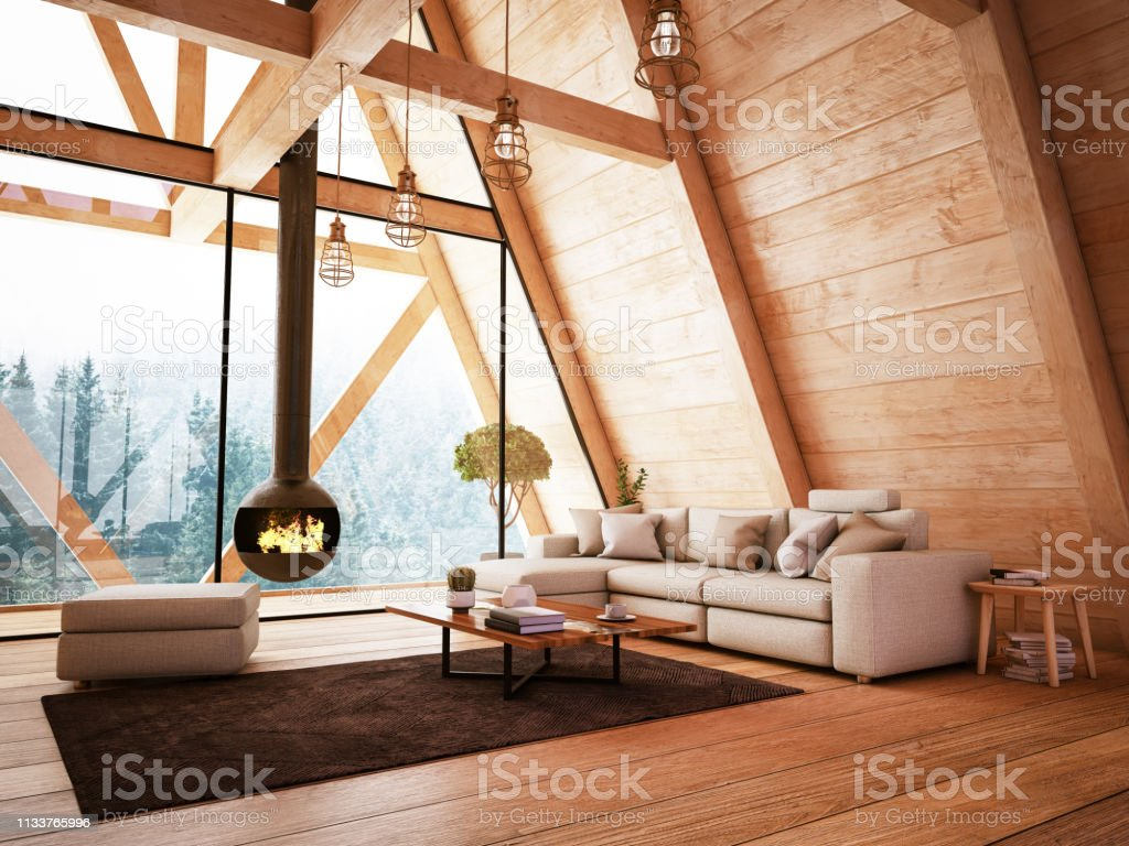 Wooden Interior With Funiture And Fireplace Stock Photo Download Image Now Istock