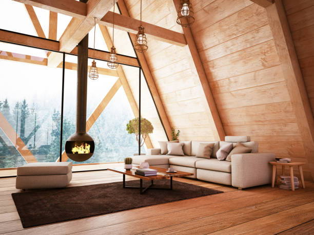 Wooden Interior with Funiture and Fireplace Wooden Interior with Funiture and Fireplace. 3D Render chalet stock pictures, royalty-free photos & images