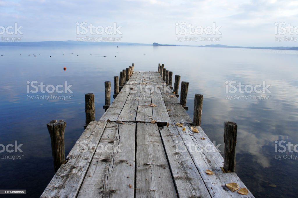 Wooden Jetty At Lago Di Trasimeno Tuscany Stock Photo Download