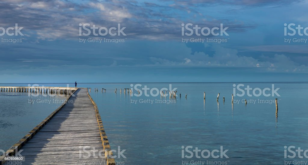 Wooden jetty built at sea in Sulawesi island in Indonesia royalty-free stock photo