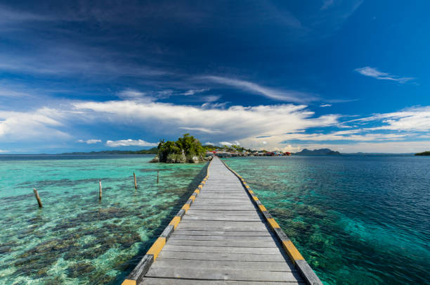 Wooden jetty built on coral reef in Sulawesi in Indonesia In the Togean islands of Central Sulawesi, the local Bajau people have built their villages on stilt and wooden jetty to be able to access the mainland. This jetty is new and enables to walk down to Pulau Papan. sulawesi stock pictures, royalty-free photos & images