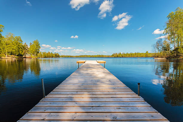 Wooden jetty on a sunny day in Sweden Deserted wooden jetty on a sunny day in the province of Smaland in Sweden promenade stock pictures, royalty-free photos & images