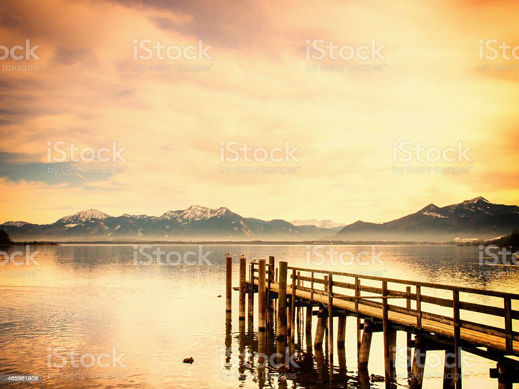 wooden jetty stock photo