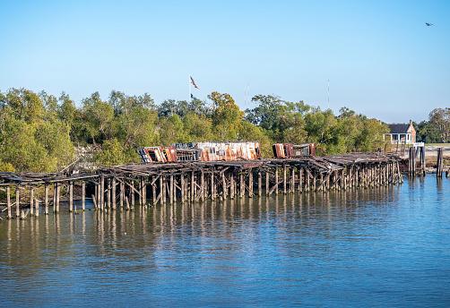 Wooden jetty platform along the Mississippi River