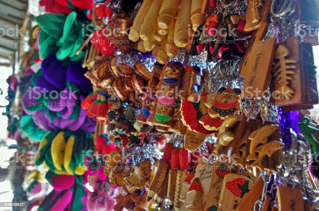 Wooden Key Chain Souvenir Items stock photo