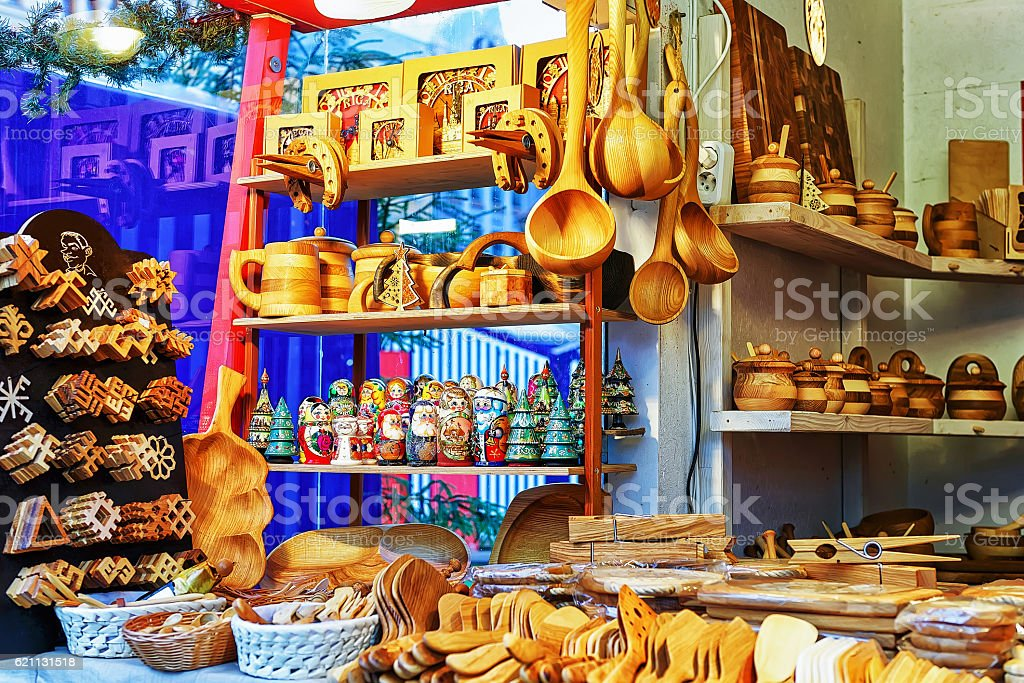 Wooden kitchen accessories displayed for sale at Riga Christmas market stock photo