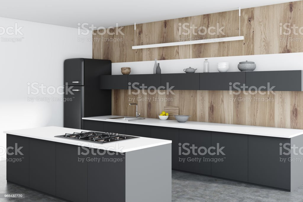 Wooden kitchen corner, black counters, bar royalty-free stock photo