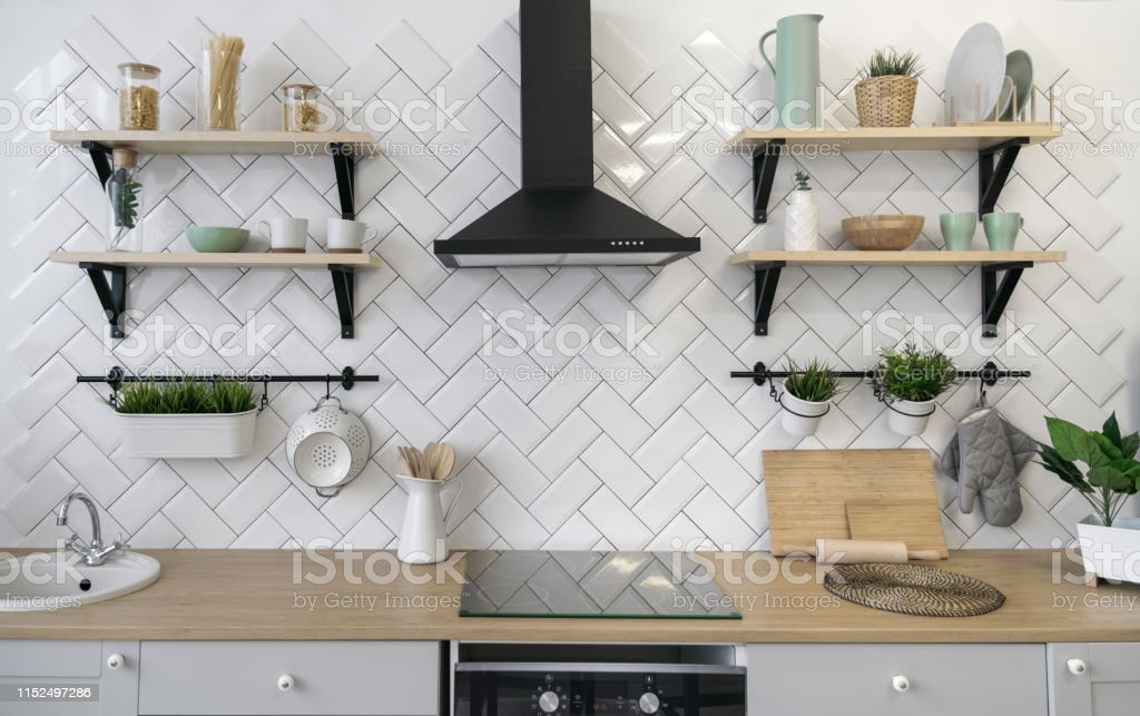 Wooden Kitchen Counter With Wooden Shelves Stock Photo ...