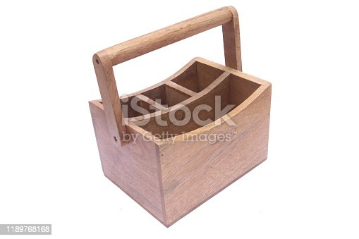 Wooden kitchen cutlery holder caddy on Isolated background.