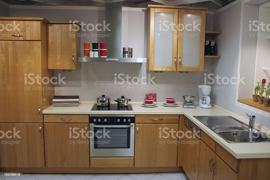 Wooden kitchen interior royalty-free stock photo