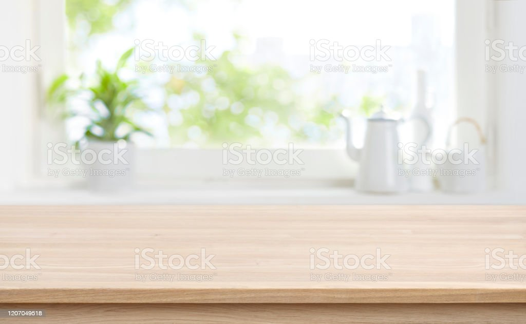 Wooden Kitchen Table With Background Of Window For Product Display Stock Photo - Download Image Now - IStock