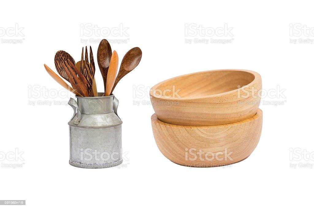 Wooden kitchen tool on white background stock photo