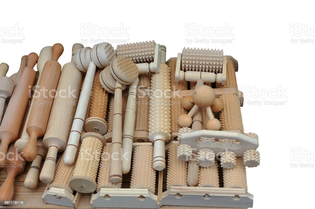 Wooden kitchen utensils handmade isolated royalty-free stock photo