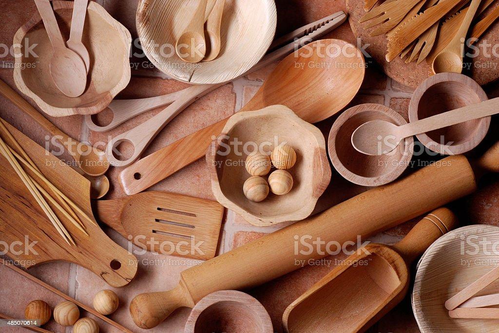wooden kitchen utensils stock photo