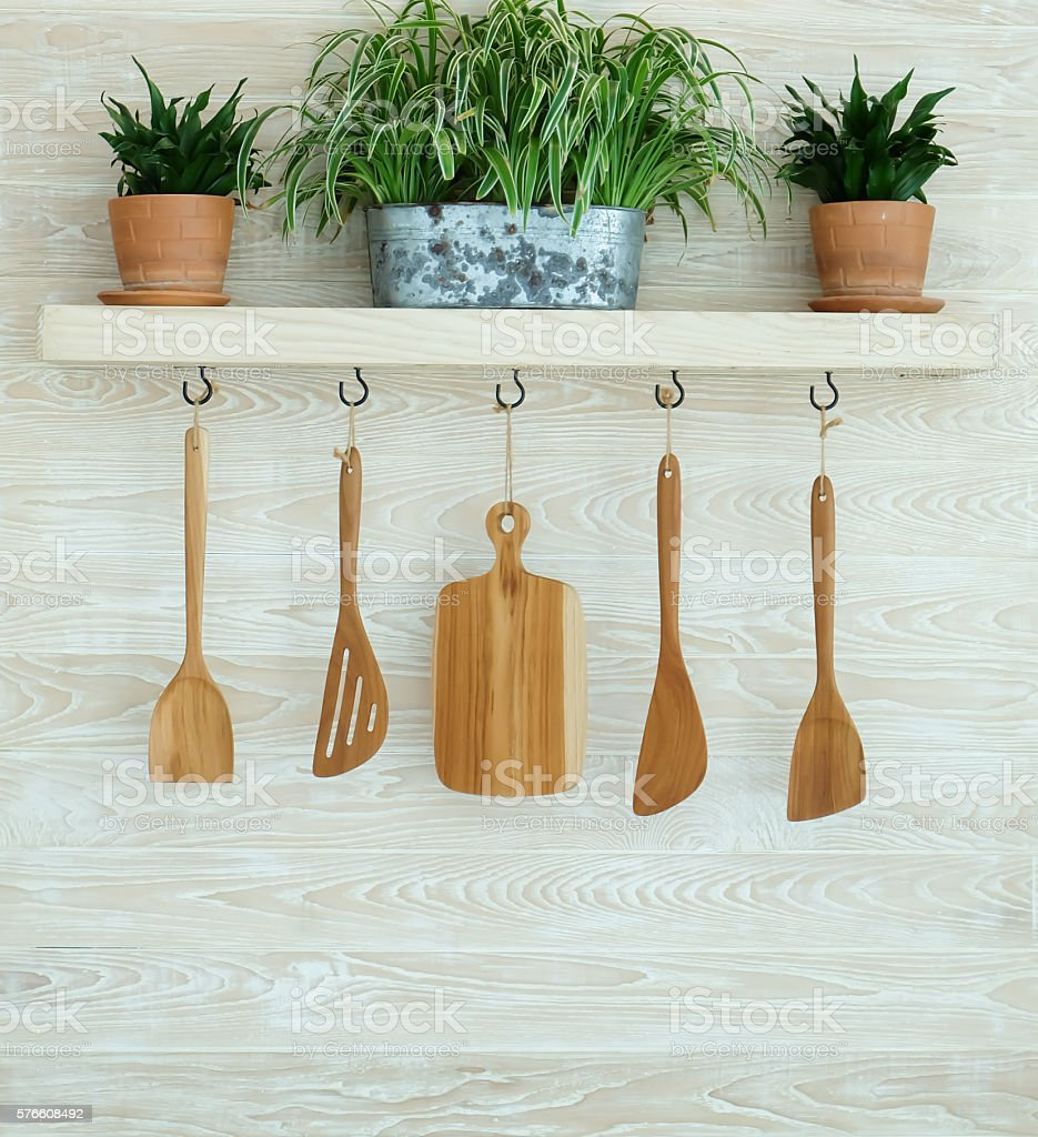 Wooden Kitchenware On Wall Stock Photo & More Pictures of Art And ...