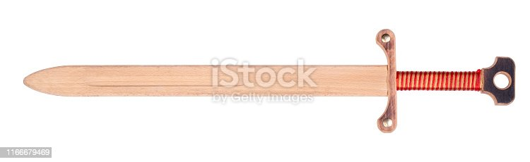 Wooden knight's sword isolated on white background