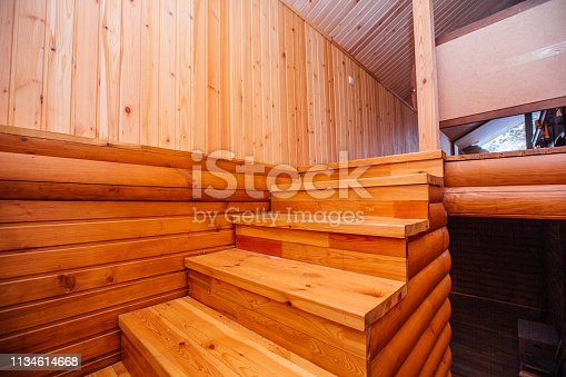 istock wooden ladder in a wooden house 1134614668