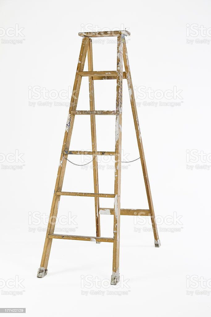 Wooden ladder stock photo