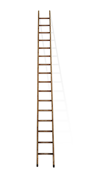 a old wooden ladder in white back with soft shadow