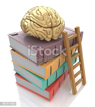 153178960istockphoto Wooden ladder standing near books pile. top of the book 487371922