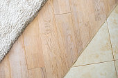 Wooden laminate floor and soft carpet