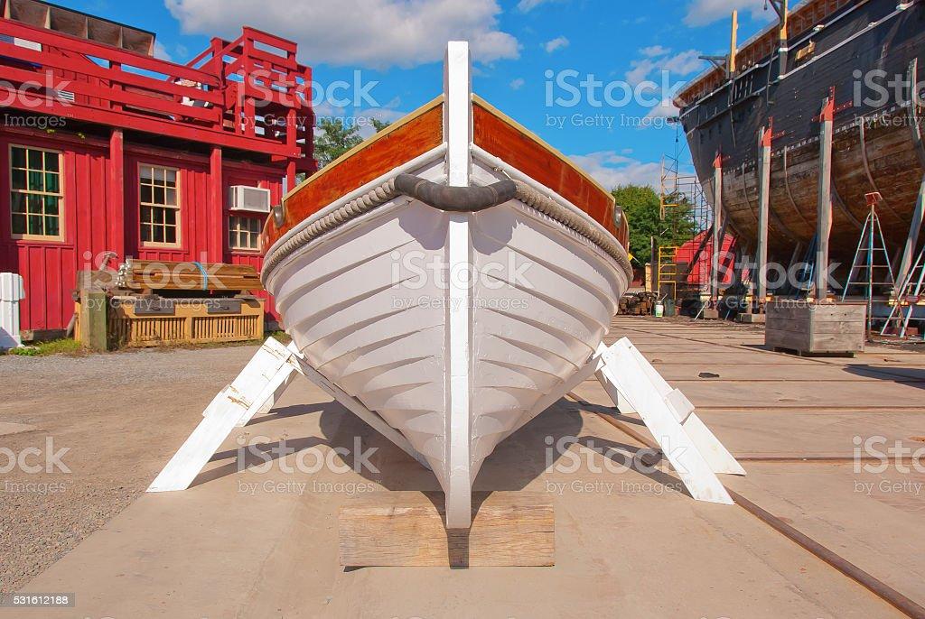 Wooden Lapstrake Workboat stock photo