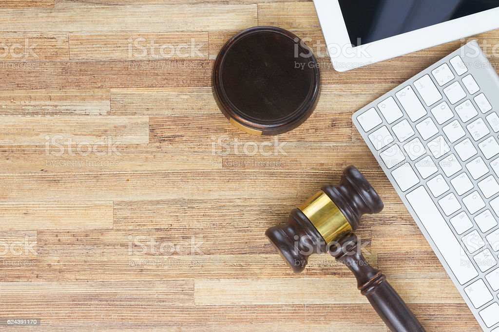 Wooden law gawel stock photo
