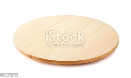 Bamboo wooden lazy susan or revolving tray isolated on a white background