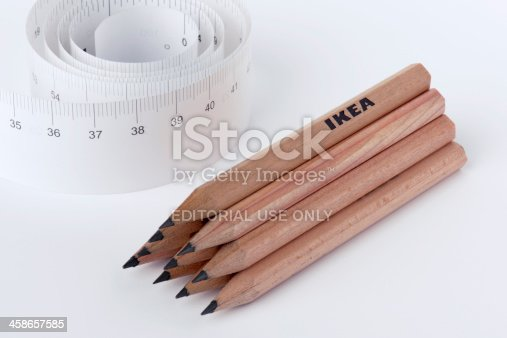 istock Wooden lead pencils and Paper Ruler 458657585