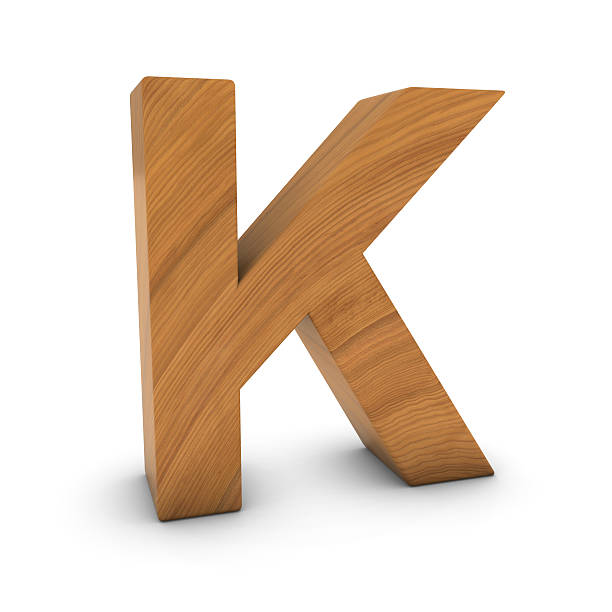 Wooden Letter K Isolated on White with Shadows Wooden Letter K Isolated on White with Shadows 3D Illustration k icon stock pictures, royalty-free photos & images