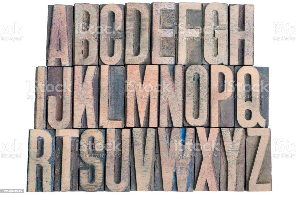 wooden letterpress alphabet stock photo