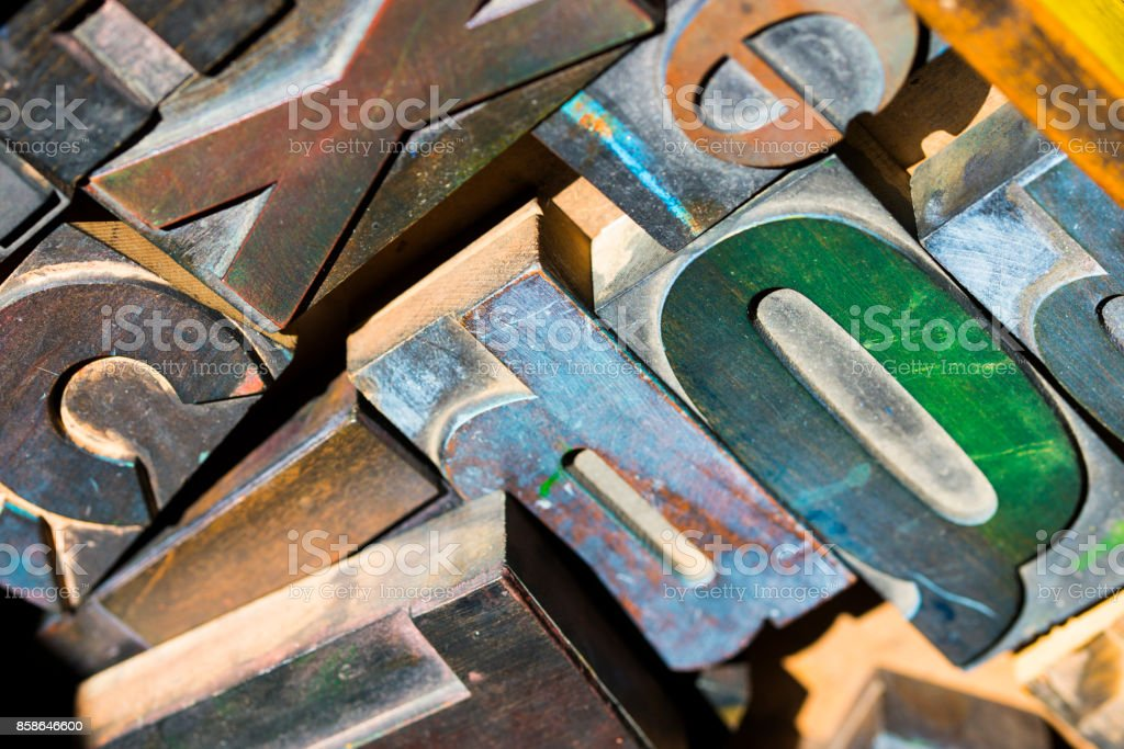 Wooden letterpress type characters, typography. stock photo