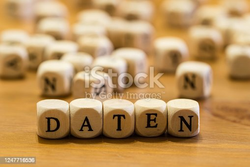 1054713428 istock photo Wooden Letters Data german