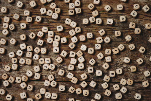 Wooden letters on a table