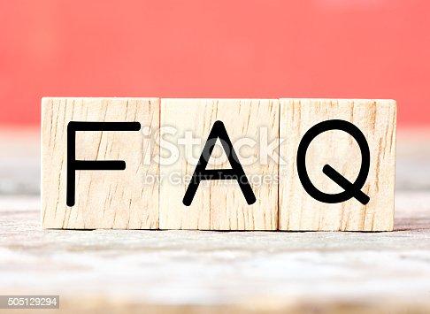 istock Wooden letters spelling FAQ 505129294