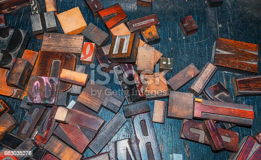683035640 istock photo wooden letters, vintage printing press 683035276