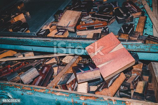 683035640 istock photo wooden letters, vintage printing press 683035326