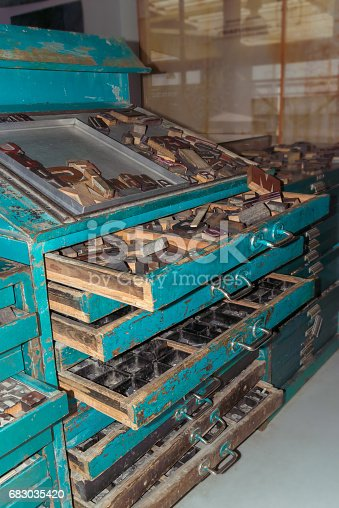683035640 istock photo wooden letters, vintage printing press 683035420