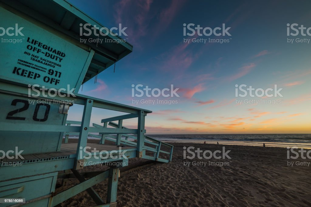 Wooden lifeguard in world famous Santa Monica beach stock photo
