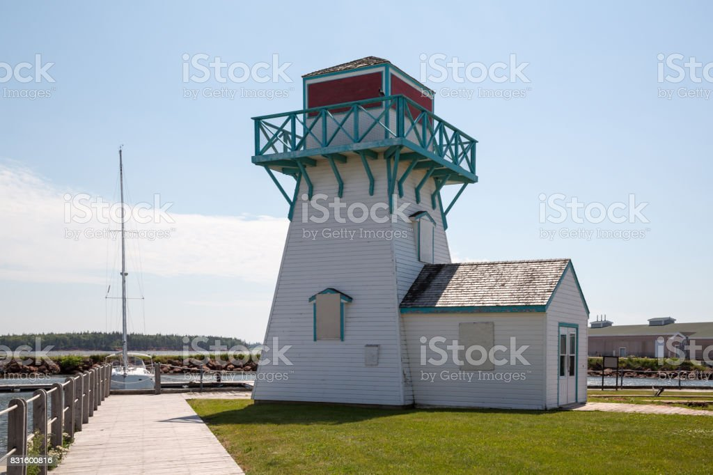 Wooden Lighthouse in Summerside on Prince Edward Island in Canada stock photo