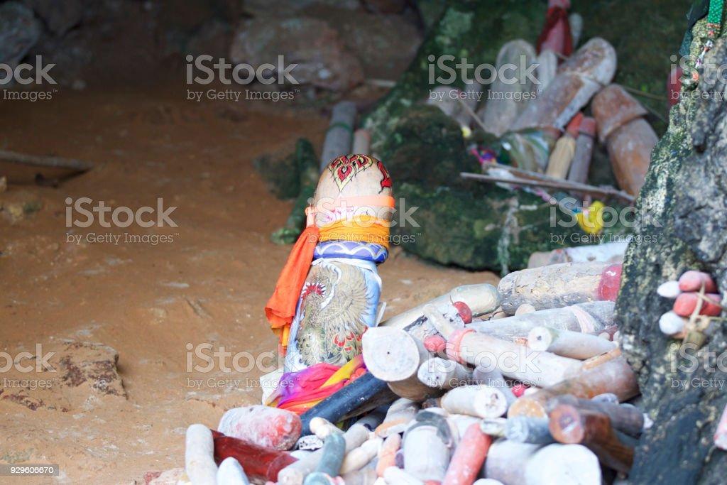 Wooden lingams offerings Princess Phra Nang Cave, Railay peninsula, Thailand stock photo