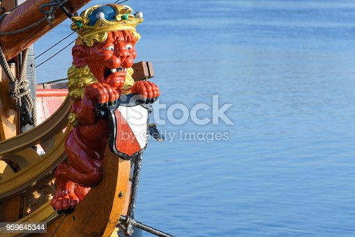 Wooden lion figurehead on the state yacht Utrecht.