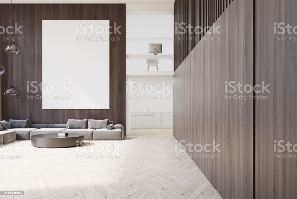 Wooden living room and home office stock photo