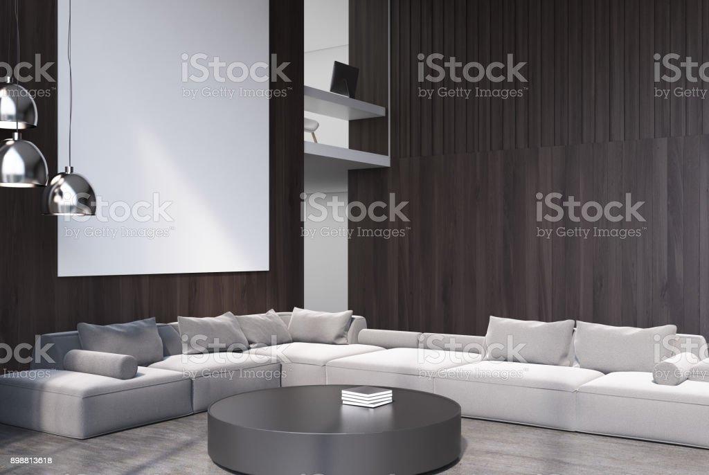 Wooden living room corner gray sofa stock photo