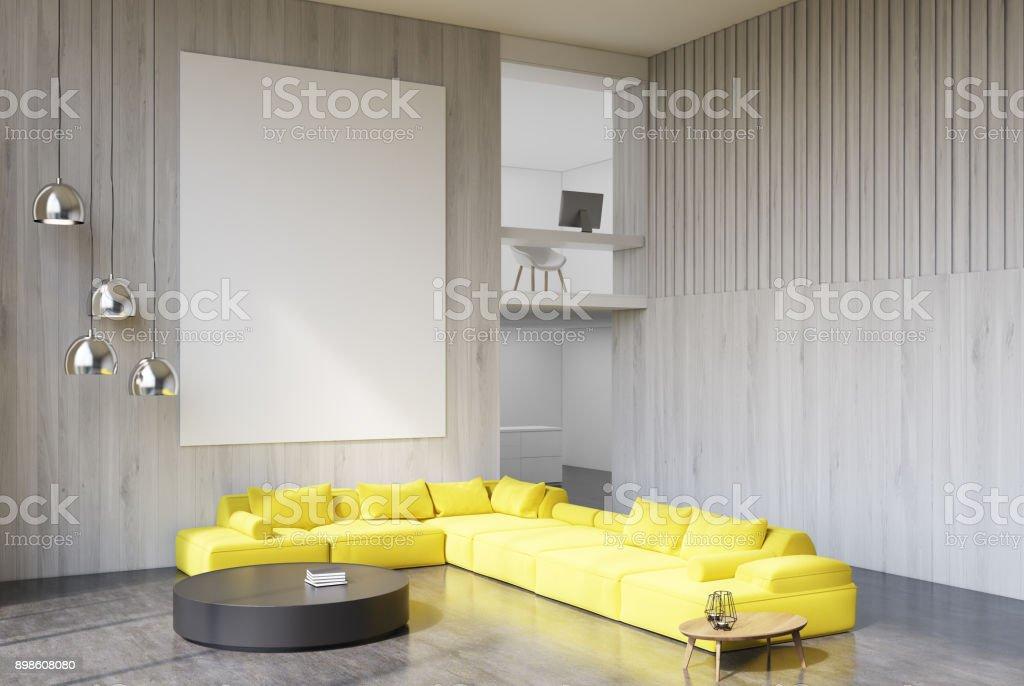 Wooden living room corner yellow sofa stock photo