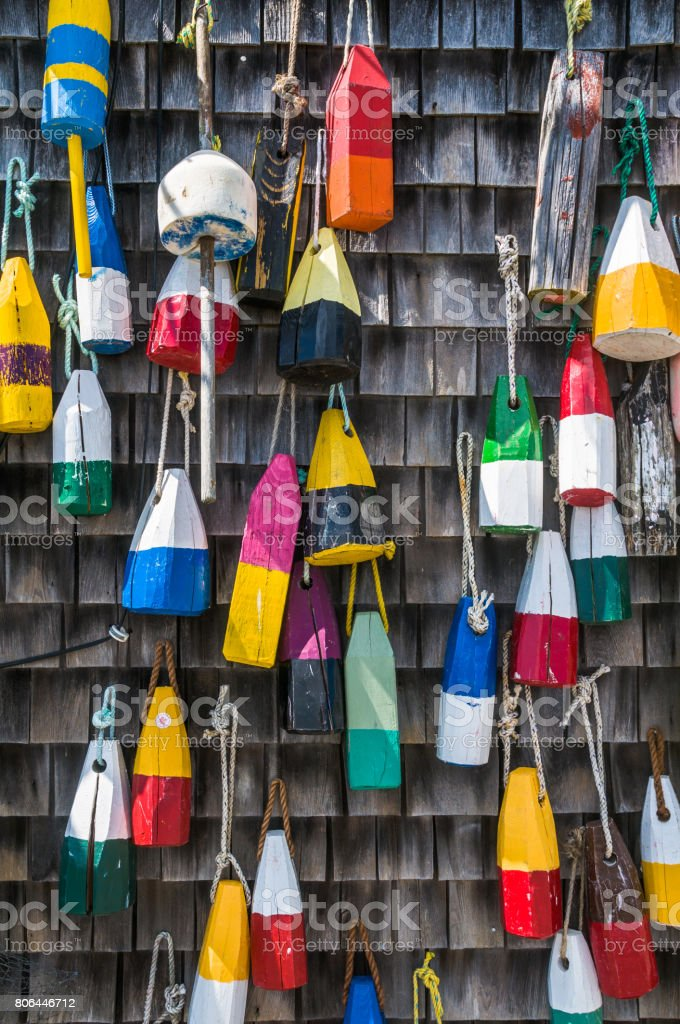 Wooden Lobster Bouys stock photo