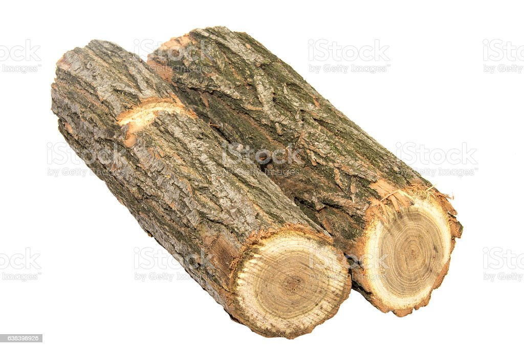 Wooden Log As Firewood Isolated On A White Background Stock Photo