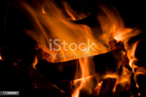 Wooden log burning in a fire