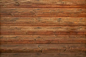 Wooden log cabin texture - interior design in traditional houses. Abstract background with horizontal lines and natural wood pattern with knots on a log wall.
